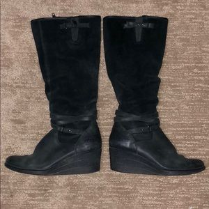 Ugg black Wedge Suede Boots Size 9